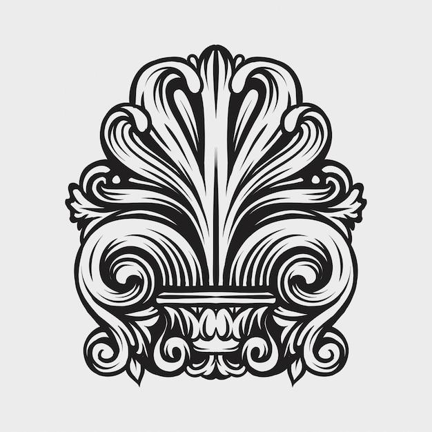 Vintage damassé cadre feuille défilement ornement floral gravure Vecteur Premium