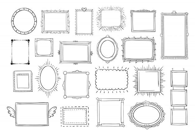 Vintage doodle sketch frames Vecteur Premium