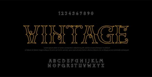Vintage élégante ligne alphabet lettres sans serif Vecteur Premium