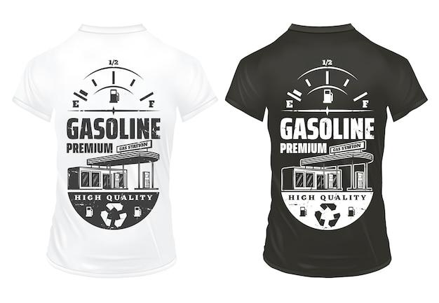 Vintage Essence Imprime Sur Des Chemises Sertie De Jauge De Carburant D'inscription Et Station-service Isolé Vecteur gratuit