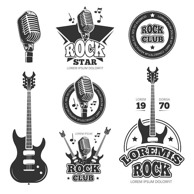 Vintage étiquettes de vecteur de musique rock, emblèmes, insignes, autocollant avec des silhouettes de guitare et haut-parleur. emblème de la musique rock, illustration étiquette rétro vintage rock and roll Vecteur Premium