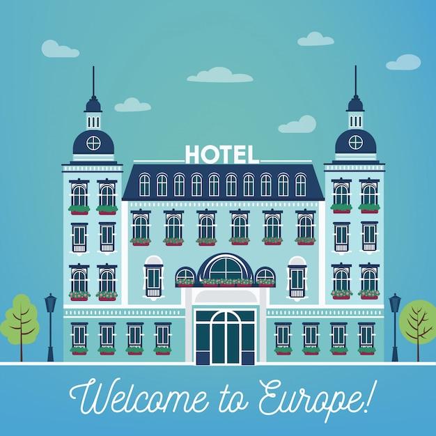 Vintage european city hostel. façade de l'hôtel de l'industrie du voyage Vecteur Premium