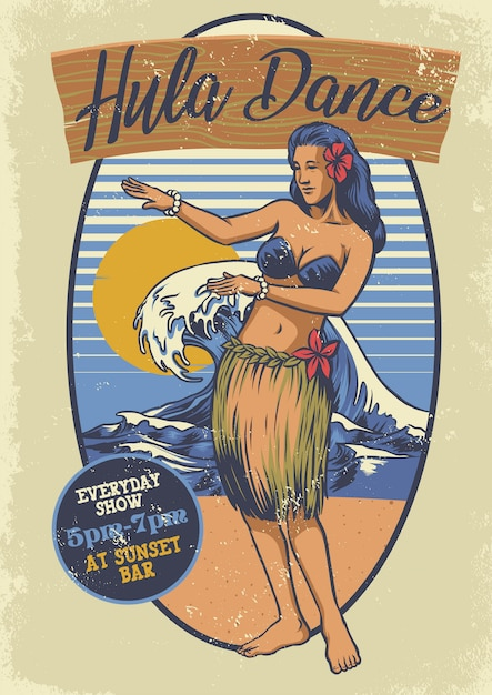 Vintage fille hawaïenne hula danse Vecteur Premium