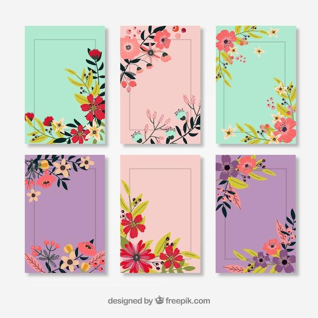 Vintage Fleur Décoré Cartes Vecteur gratuit