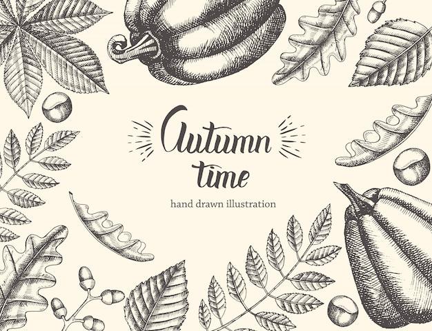 Vintage fond automne avec des feuilles dessinées à la main et la citrouille. main écrite citation tendance heure d'automne Vecteur Premium
