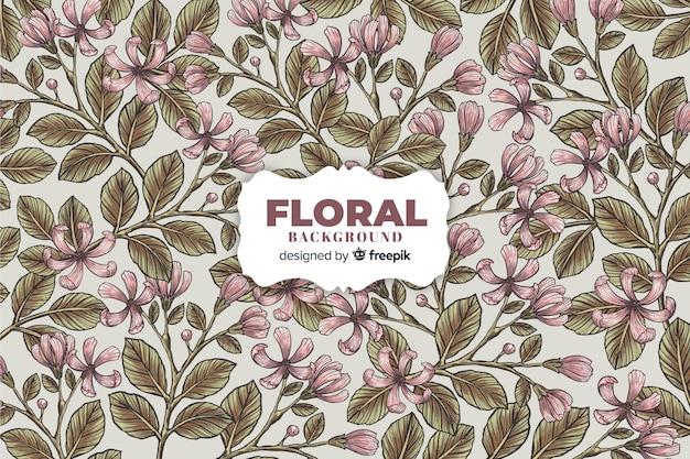 Vintage fond floral dessiné Vecteur gratuit