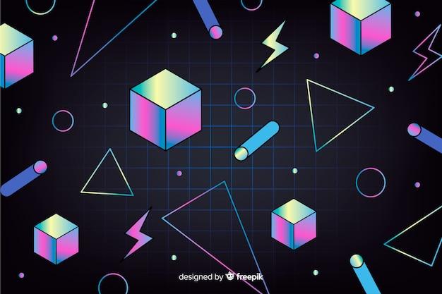 Vintage fond géométrique avec des cubes Vecteur gratuit