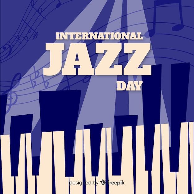 Vintage fond international de la journée de jazz Vecteur gratuit
