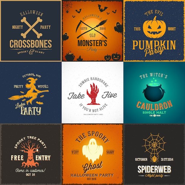 Vintage Halloween Party Cards, étiquettes Ou Logos Set. Vecteur gratuit