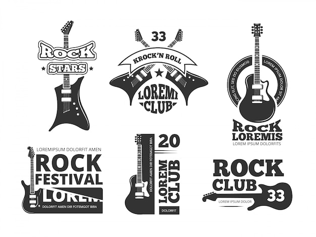 Vintage heavy rock Vecteur Premium