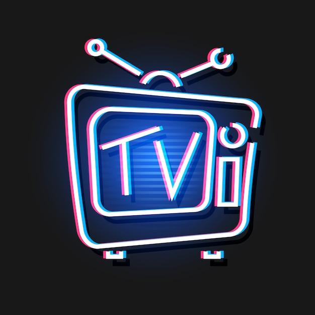 Vintage hologram tv Vecteur Premium