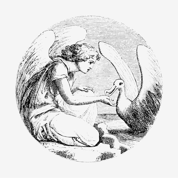 Vintage leda et l'illustration du cygne Vecteur gratuit