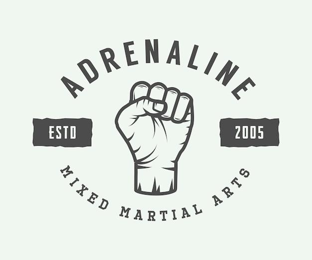 Vintage Logo D'arts Martiaux Mixtes Vecteur Premium
