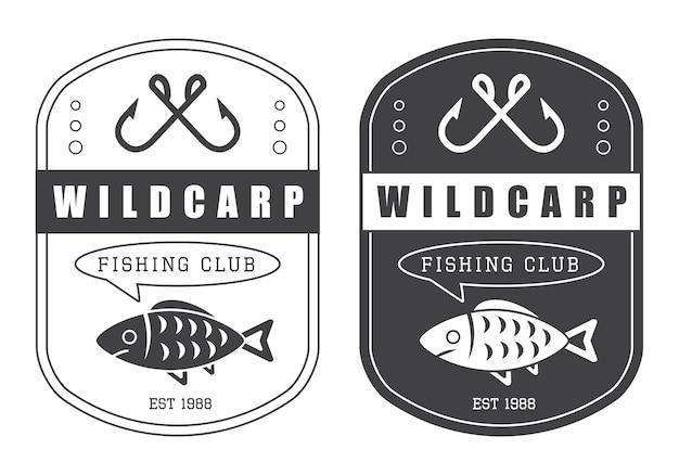 Vintage logo chasse et pêche Vecteur Premium