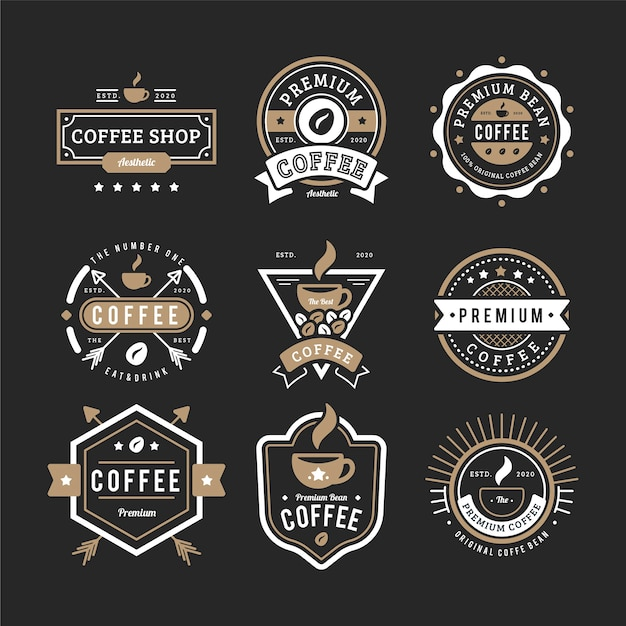 Vintage logo du café Vecteur gratuit