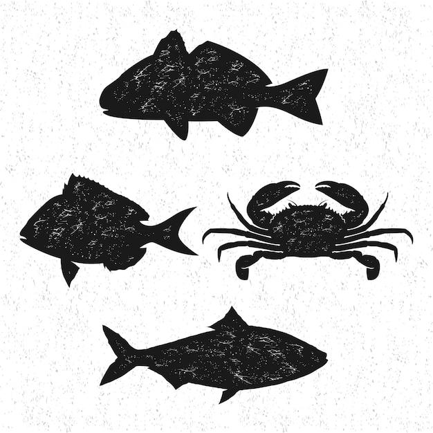 Vintage logo de fruits de mer, silhouette de poisson isolé Vecteur Premium