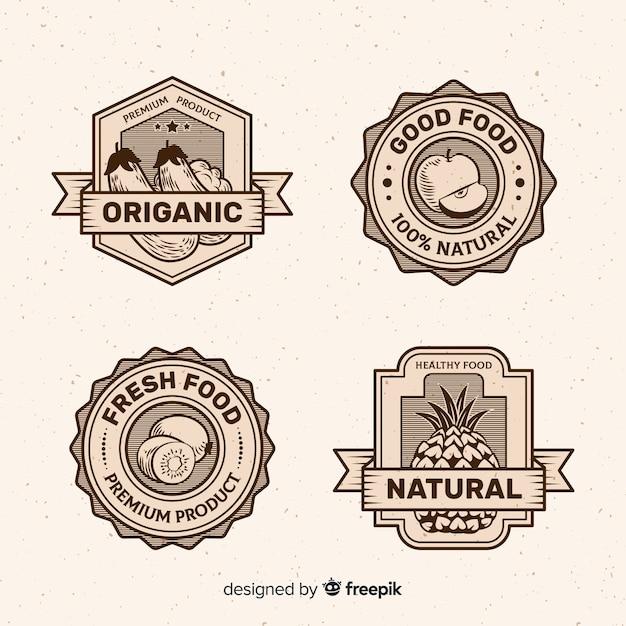 Vintage logo de la nourriture saine Vecteur gratuit