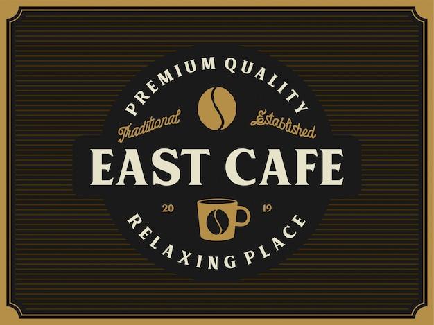 Vintage logo pour café ou magasin de café Vecteur Premium