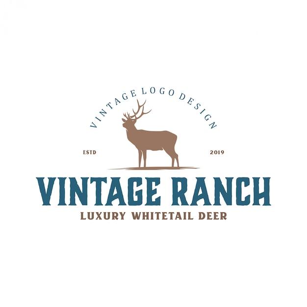 Vintage logo pour les fermes de cerfs et la chasse Vecteur Premium