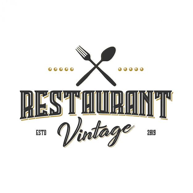 Vintage logo pour label ou restaurant et café Vecteur Premium