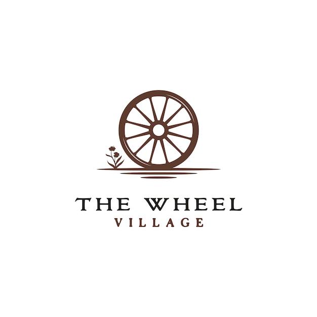 Vintage logo de roue de chariot en bois Vecteur Premium