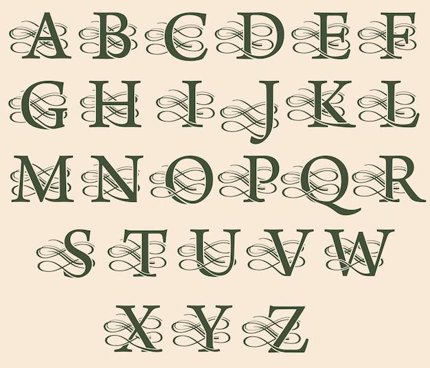 Vintage monogrammes décoratifs en filigrane Vecteur Premium