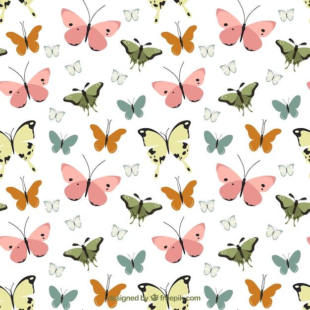Vintage Motif Décoratif De Papillons Vecteur gratuit