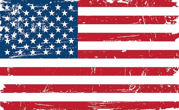 Vintage old american flag Vecteur Premium