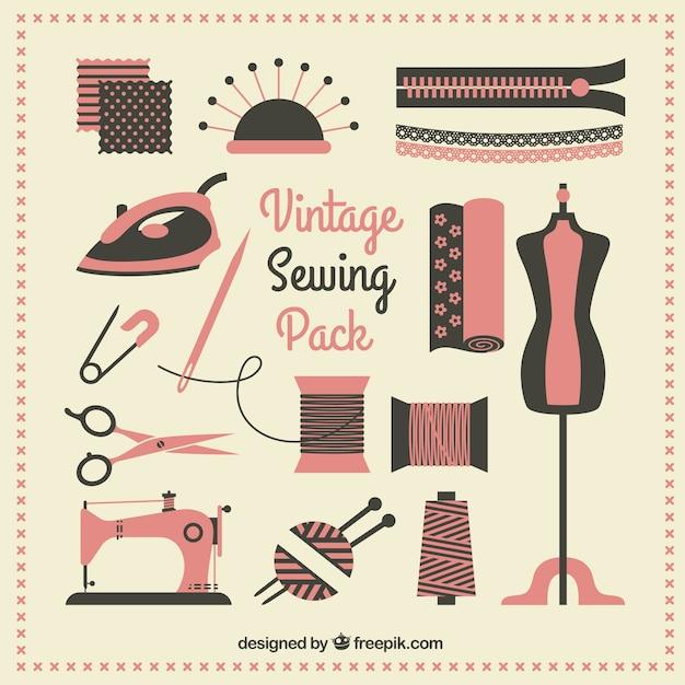 Vintage pack de couture Vecteur gratuit