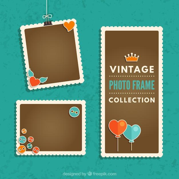 Vintage Photo Frames Collection Vecteur gratuit