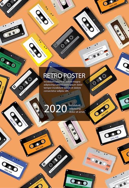 Vintage Retro Cassette Tape Poster Design Template Vector Illustration Vecteur gratuit