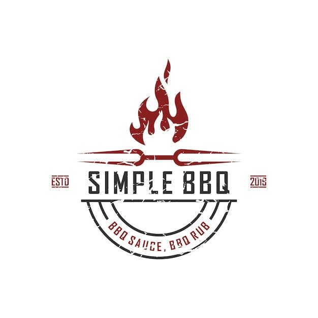 Vintage retro countryside bbq grill, vecteur de conception label label logo Vecteur Premium