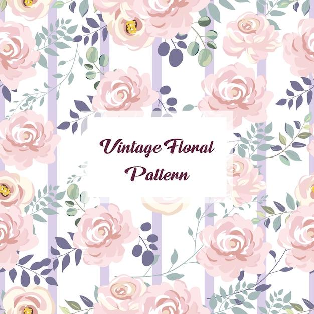 Vintage rose motif floral sans soudure pour la décoration Vecteur Premium