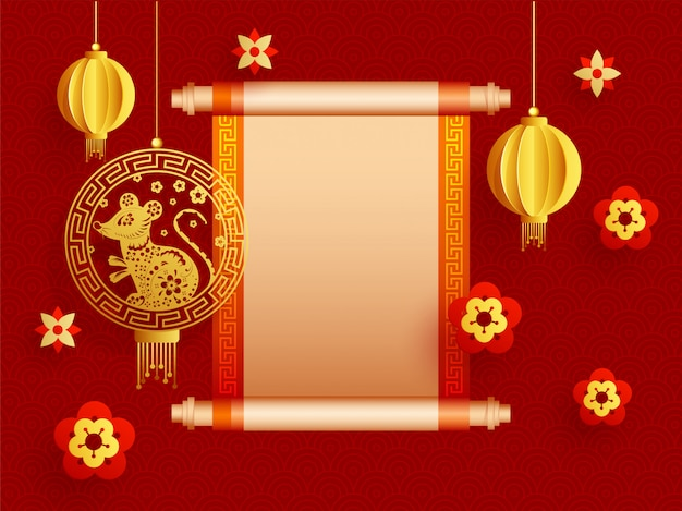 Vintage rouleau de papier vierge donné pour votre message avec des lanternes en papier découpé, signe du zodiaque de rat et fleurs décorées sur un motif chinois rouge. Vecteur Premium
