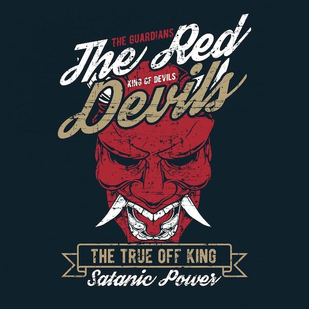 Vintage style grunge le dessin à la main du diable rouge Vecteur Premium