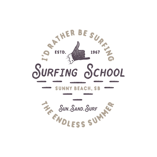 Vintage surf. école de surf avec signe de la main shaka et typographie rétro Vecteur Premium