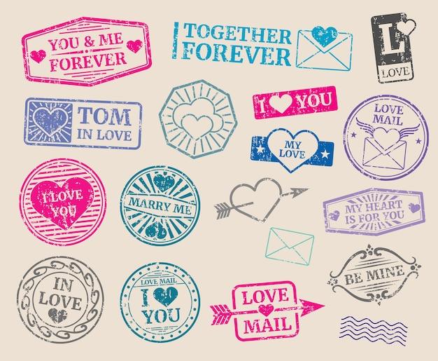 Vintage timbres-poste vector ensemble. rendez-vous romantique, amour, saint valentin. collection de sceau avec texte Vecteur Premium