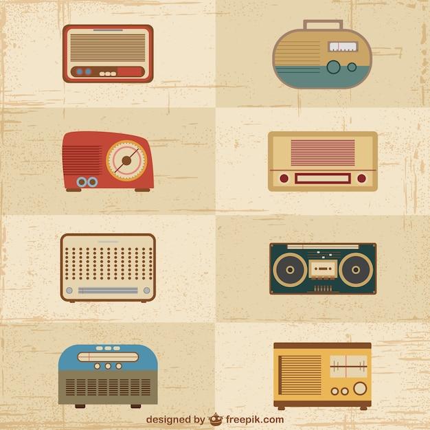 Vintage vecteurs de postes radio Vecteur gratuit
