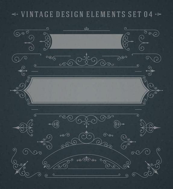 Vintage Vector Tourbillonne Des éléments De Conception De Décorations Ornements Sur Tableau Vecteur Premium