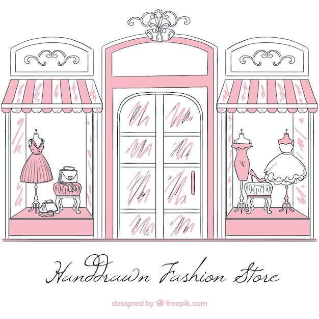 Vintage vitrine de croquis de magasin de mode Vecteur gratuit