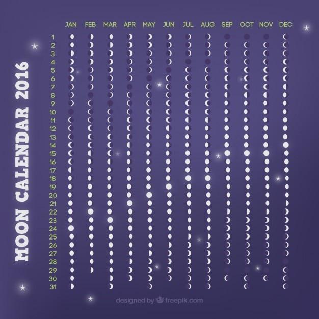 Violet calendrier lunaire 2016 t l charger des vecteurs - Calendrier lunaire decembre 2016 ...