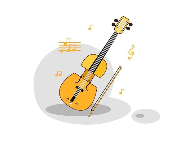 Un violon et un arc sur un fond blanc Vecteur Premium