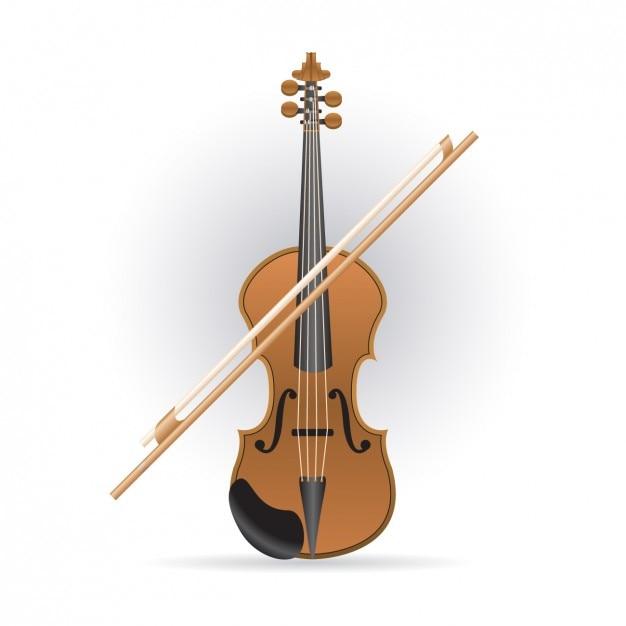 Violon et bow icône Vecteur gratuit
