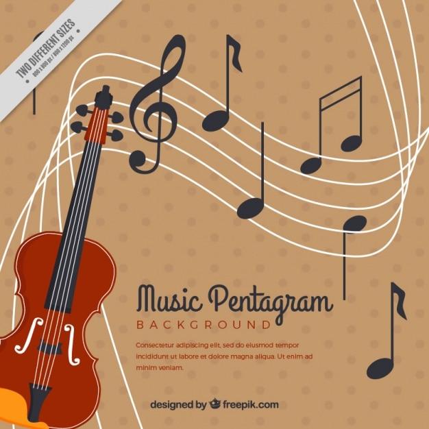 Violon et vintage background pentagramme Vecteur gratuit