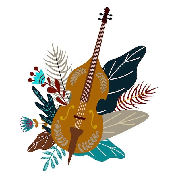 Violoncelle et feuilles avec des fleurs. élément de doodle plat décoratif, design Vecteur Premium