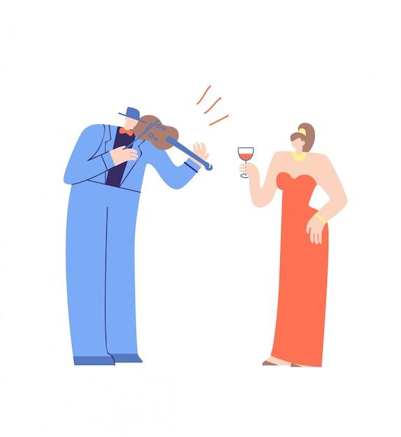 Violoniste et jolie femme personnages de dessins animés plats Vecteur Premium