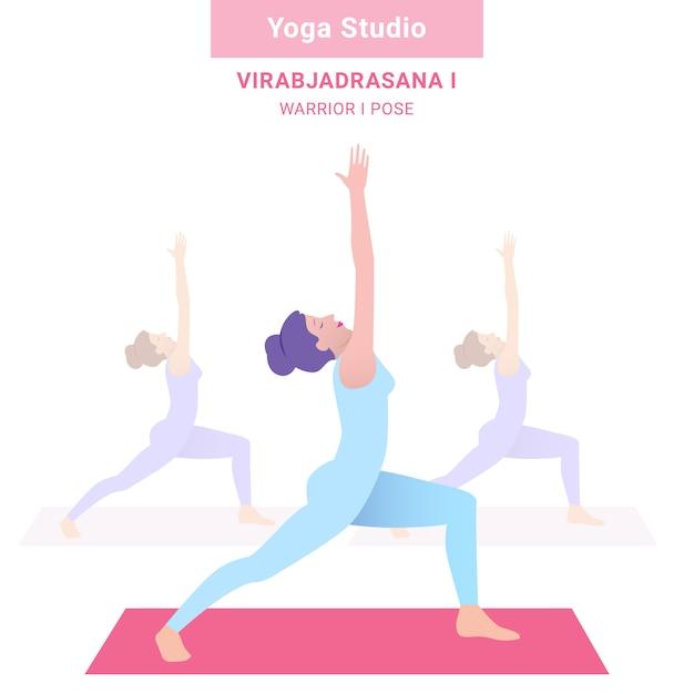 Virabjadrasana i. warrior i pose. studio de yoga. yoga de vecteur Vecteur Premium