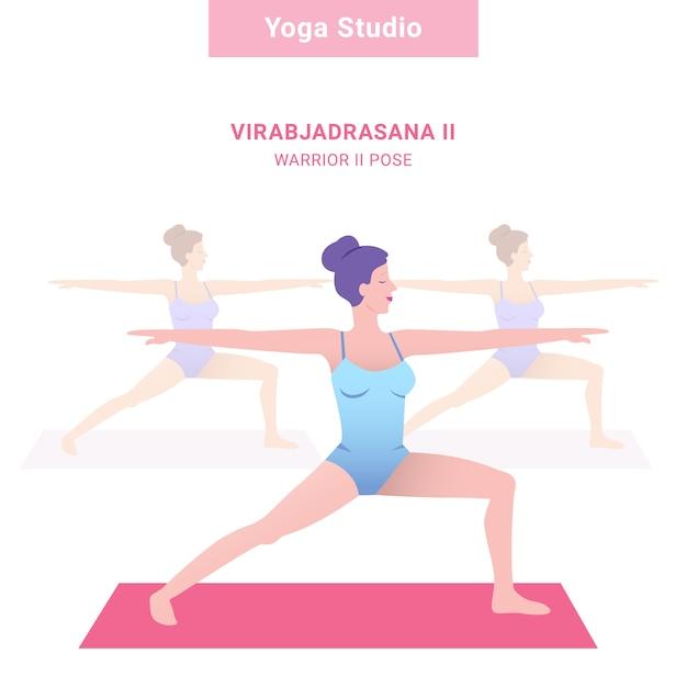 Virabjadrasana ii. guerrier ii pose. studio de yoga. yoga de vecteur Vecteur Premium