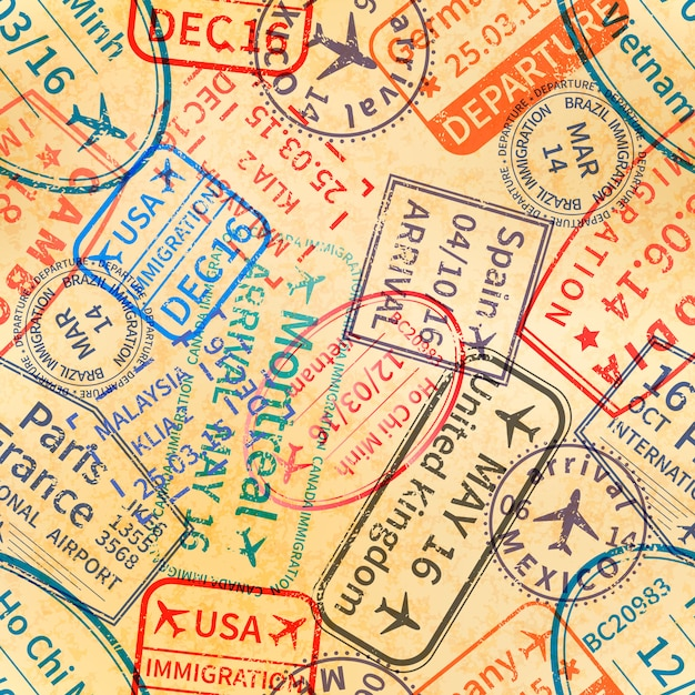 Visa tampons de voyage internationaux Vecteur Premium