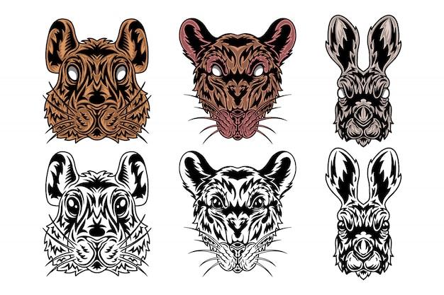 Visage animal rat, lièvre, hamster vintage de style. Vecteur Premium